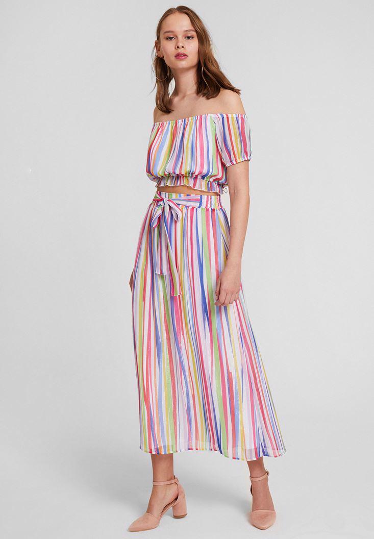 Bayan Çok Renkli Bağlama Detaylı Uzun Etek