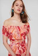 Bayan Çok Renkli Düşük Omuz Detaylı Crop Bluz