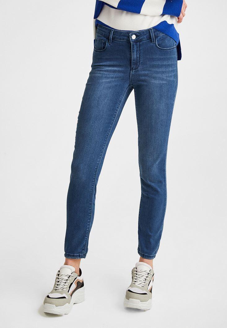 Lacivert Orta Bel Jean Pantolon