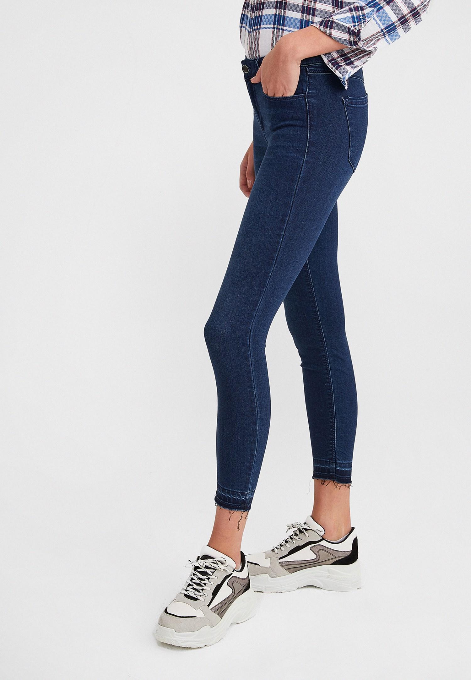 Bayan Mavi Orta Bel Jean Pantolon
