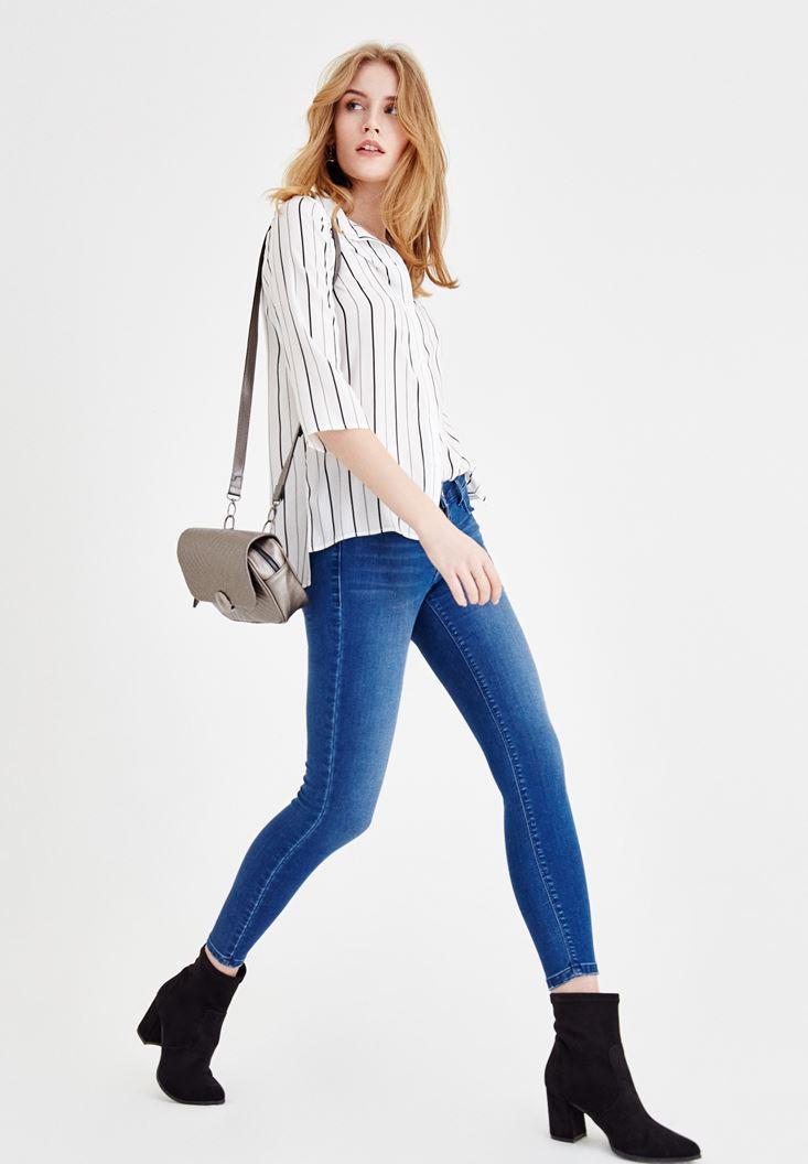 Bayan Lacivert Yüksek Bel Jean Pantolon