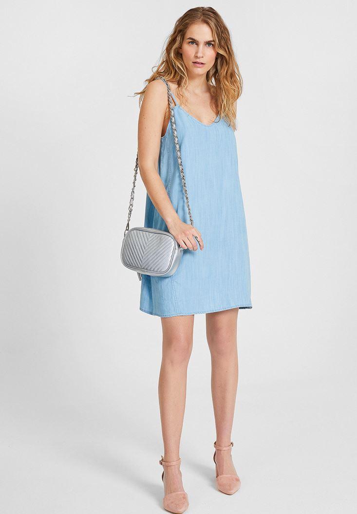 Mavi İnce Askılı Denim Elbise