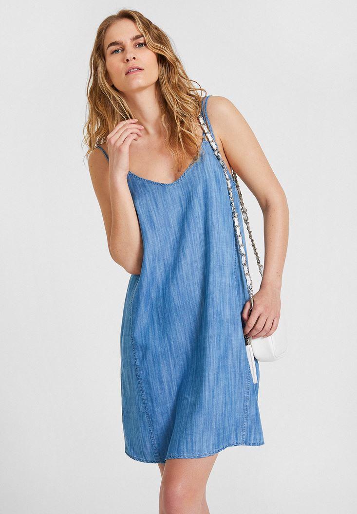 Denim Dress with V Neck Details