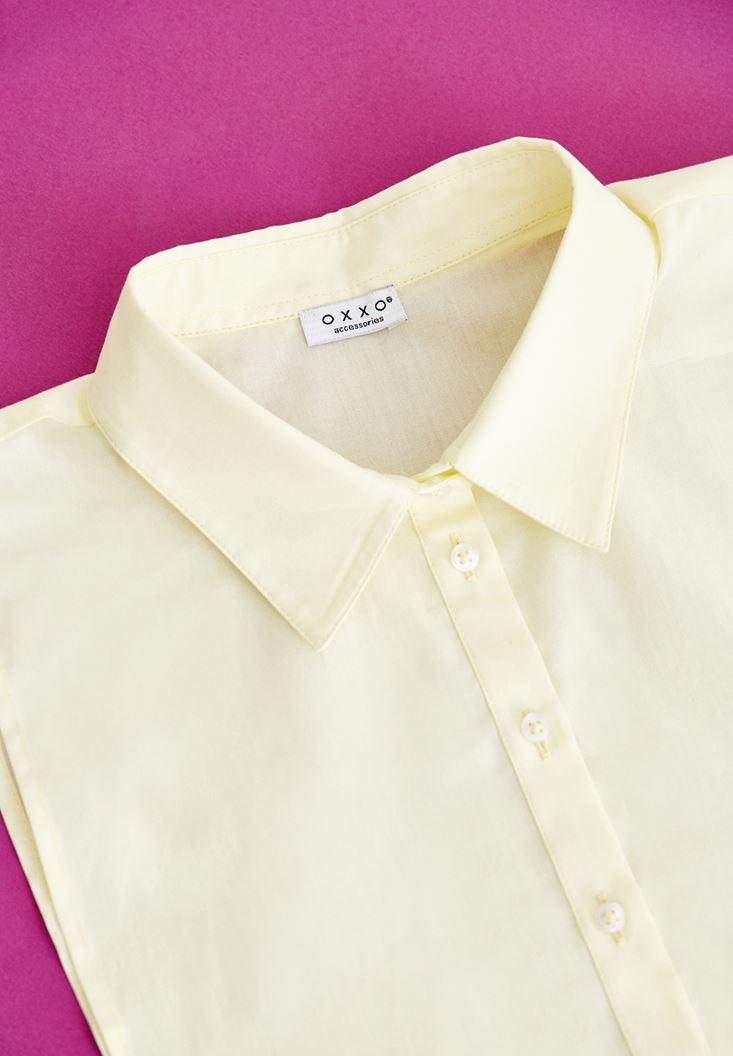 Bayan Sarı Düğmeli Gömlek Yakası