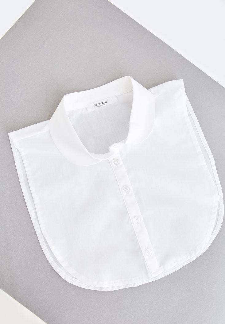 Beyaz Düğmeli Gömlek Yaka