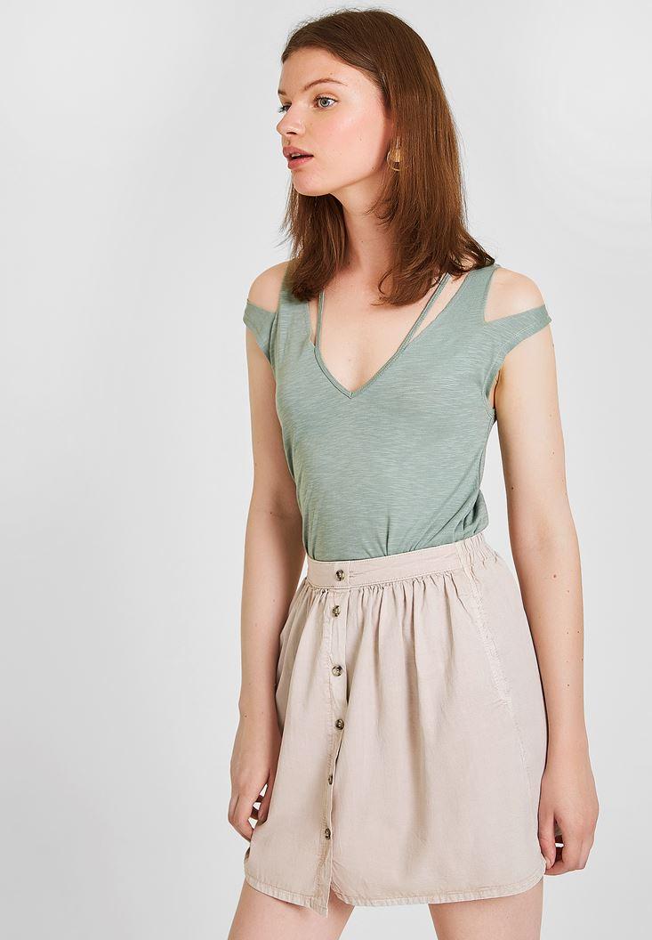 Green T-shirt with Shoulder Details