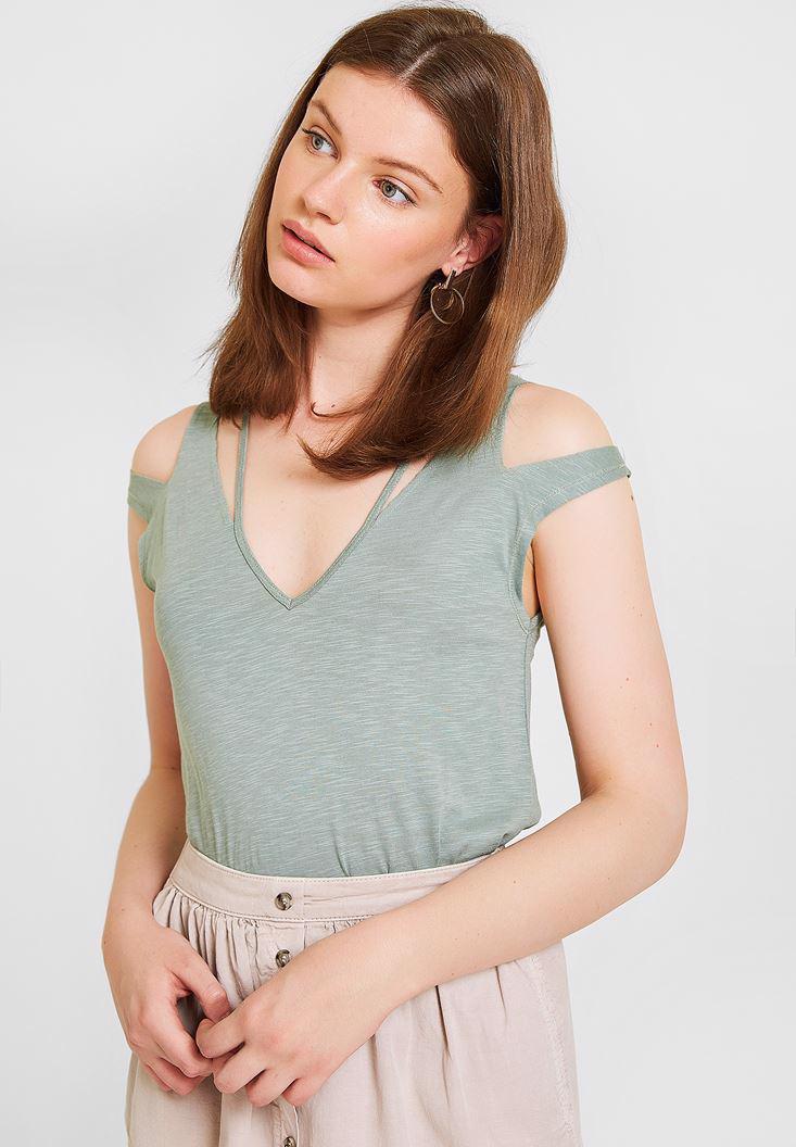 Bayan Yeşil Omuz Detaylı Biyeli Tişört