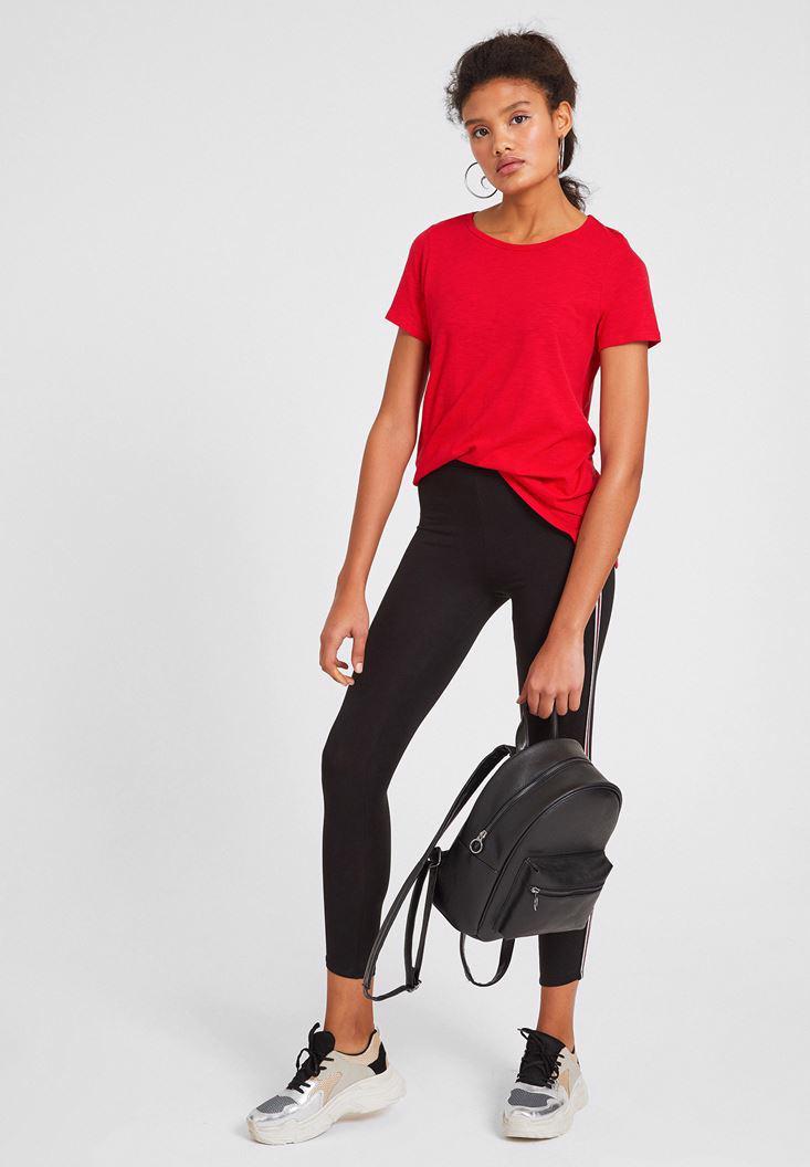 Bayan Kırmızı Kısa Kollu Basic Tişört
