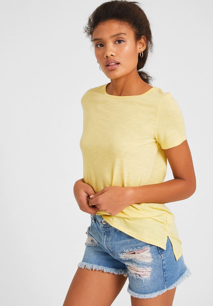 Yellow Basic T-Shirt with Details