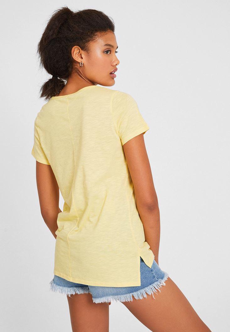 Bayan Sarı Kısa Kollu Basic Tişört