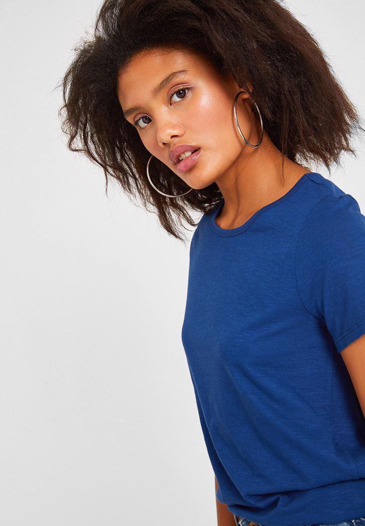 Bayan Lacivert Kısa Kollu Basic Tişört