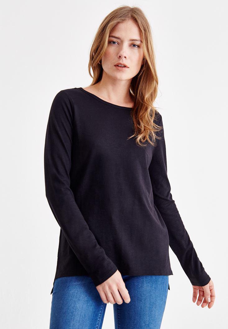 Bayan Siyah Basic Uzun Kollu Tişört