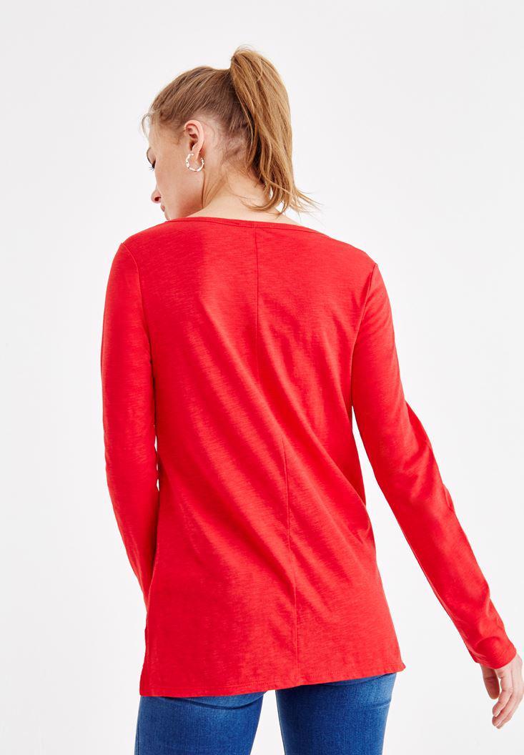 Bayan Kırmızı Basic Uzun Kollu Tişört