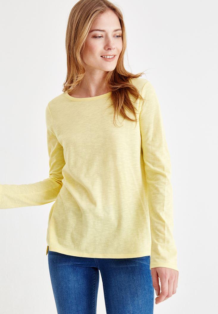 Sarı Basic Uzun Kollu Tişört