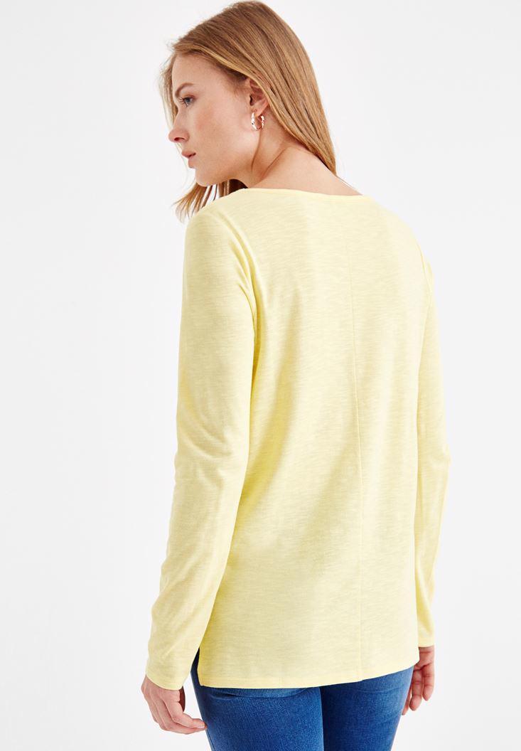 Bayan Sarı Basic Uzun Kollu Tişört