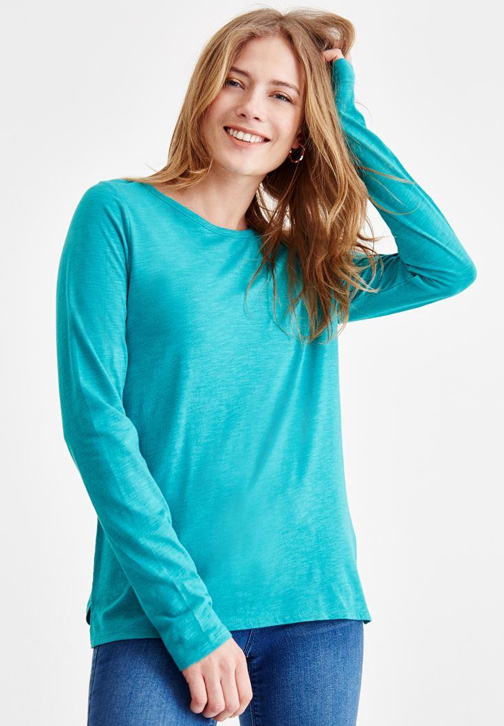 Yeşil Basic Uzun Kollu Tişört