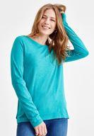 Bayan Yeşil Basic Uzun Kollu Tişört