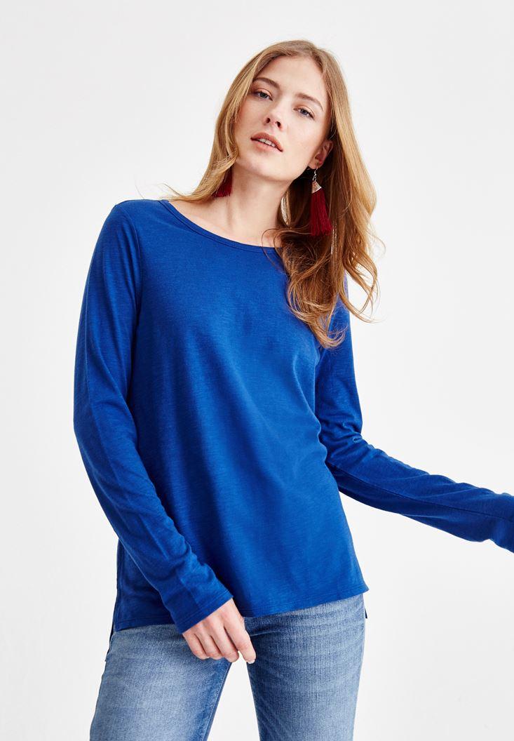 Lacivert Basic Uzun Kollu Tişört