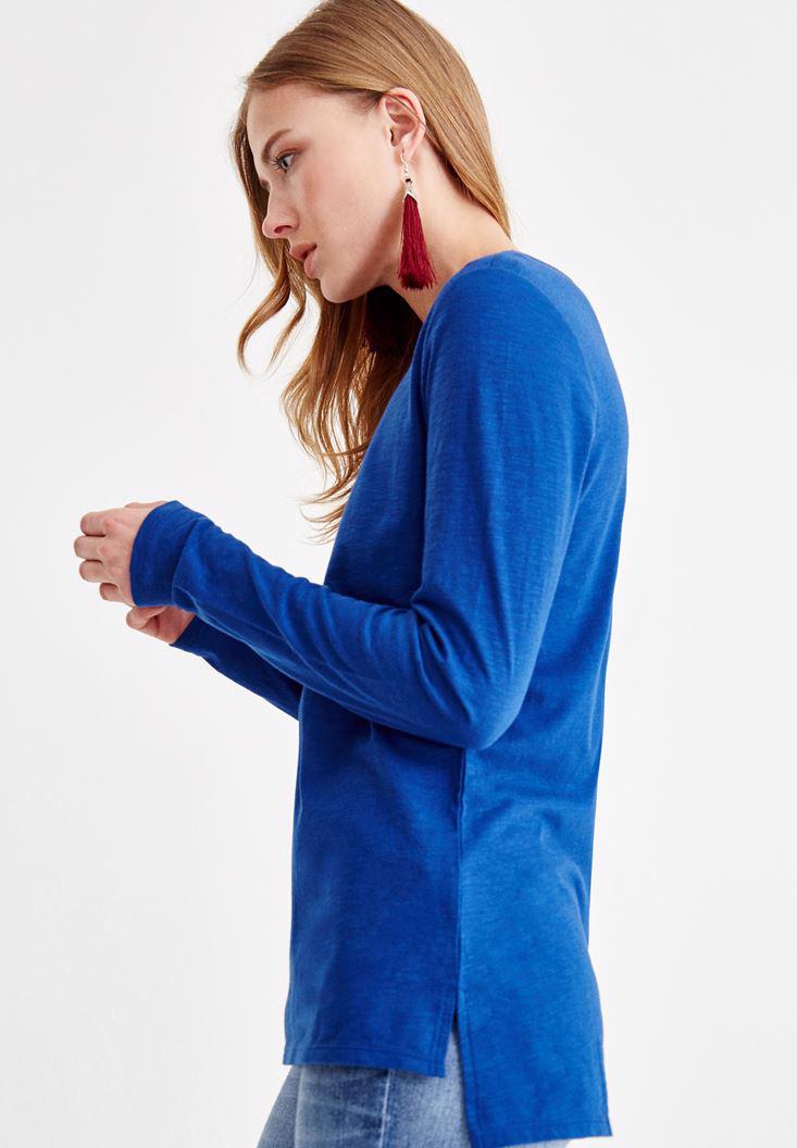 Bayan Lacivert Basic Uzun Kollu Tişört