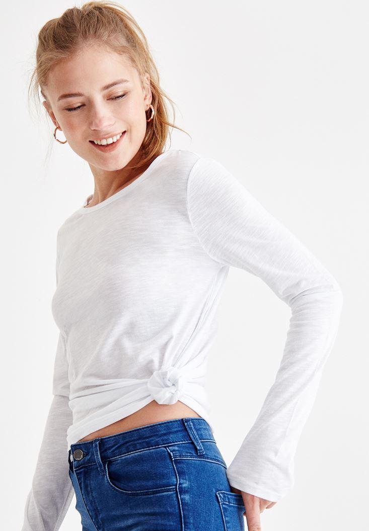 Beyaz Basic Uzun Kollu Tişört