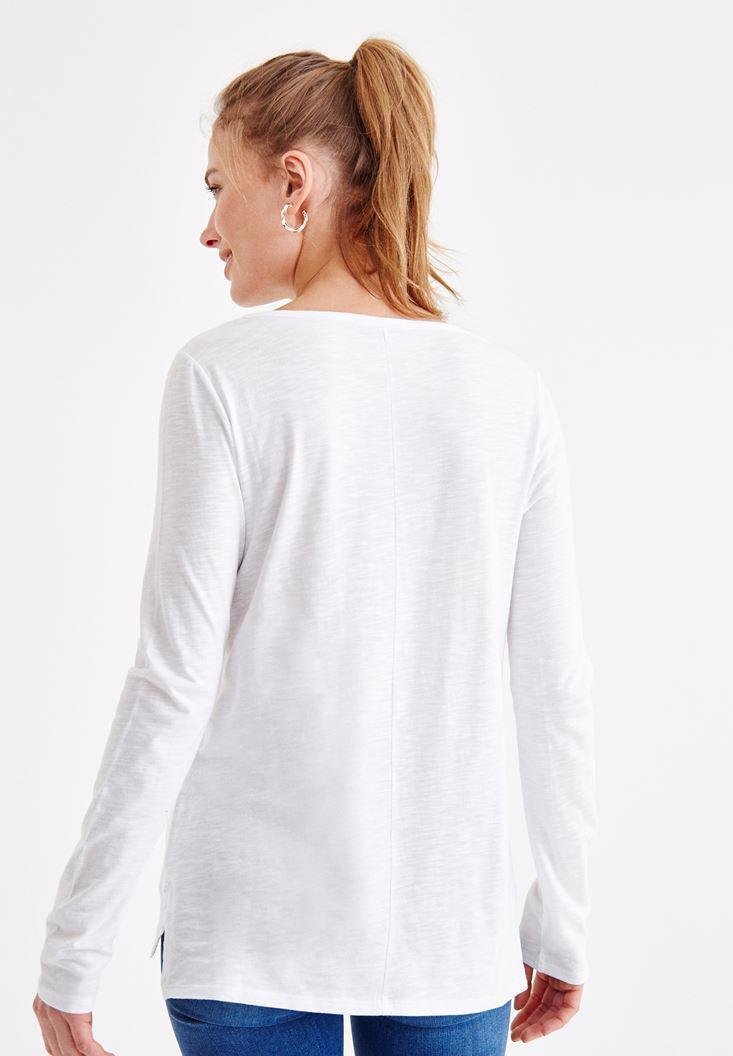 Bayan Beyaz Basic Uzun Kollu Tişört