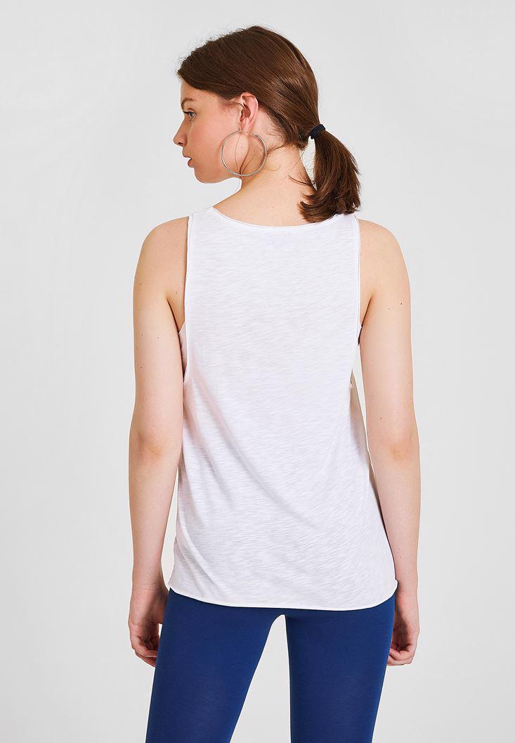Women White Printed Tank with Details