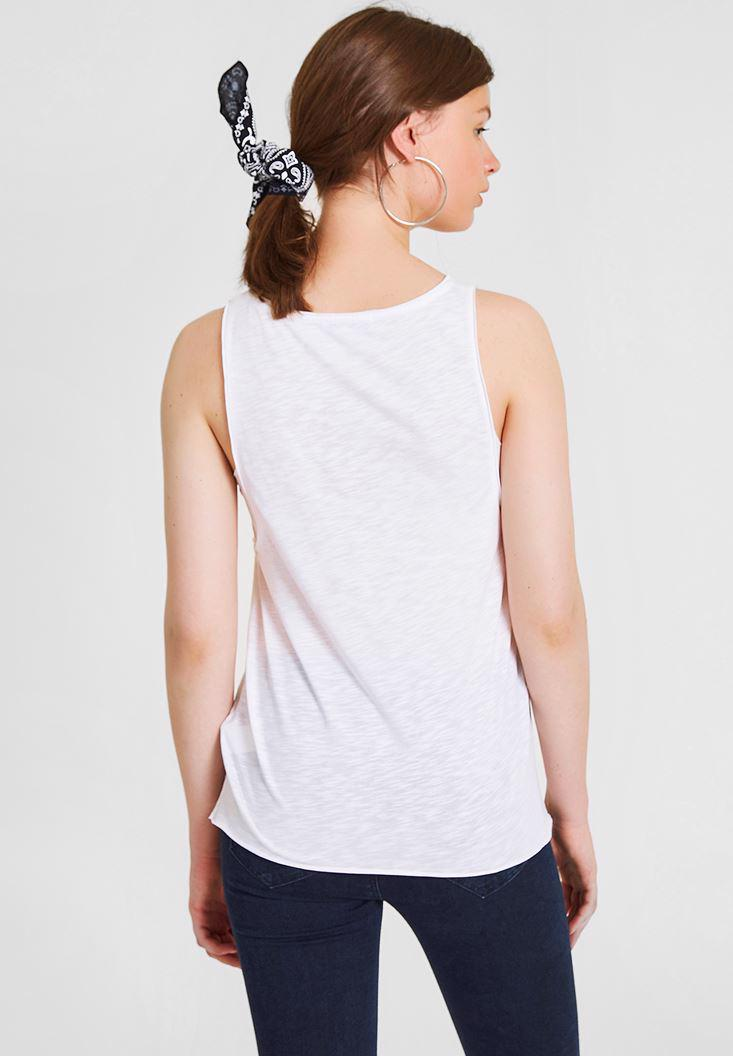 Women White Printed Tank with Detailed
