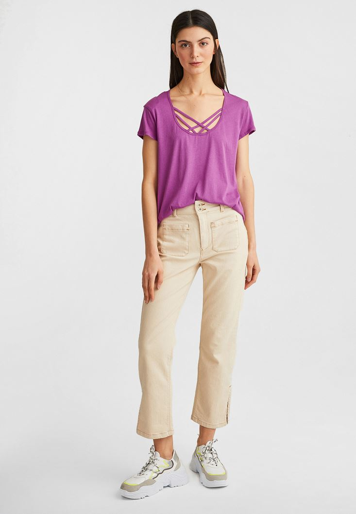 Purple T-Shirt with Details