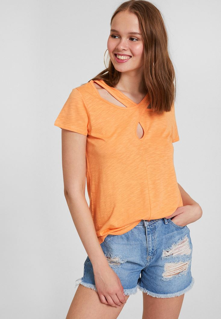Orange Short Sleeve T-Shirt with Neck Details