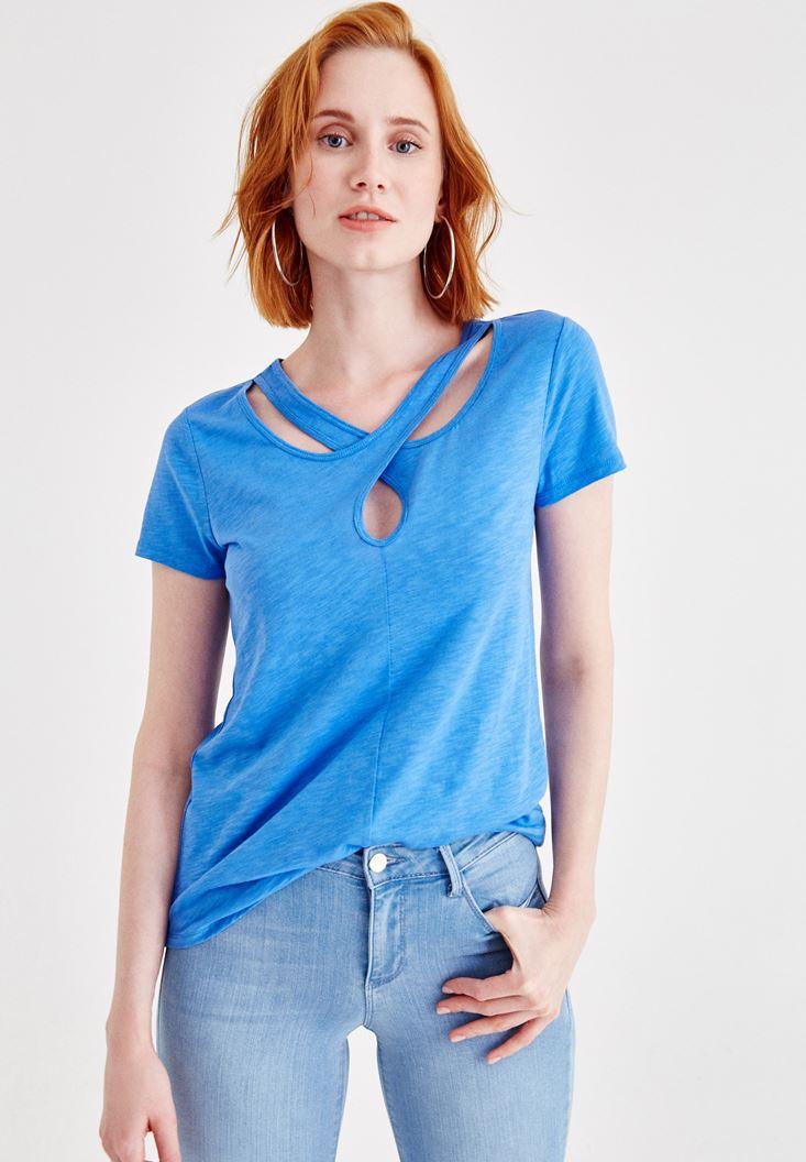 Mavi Kısa Kollu Yaka Detaylı Tişört