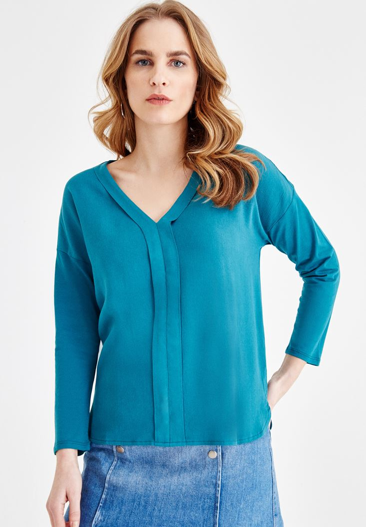 Blue Blouse with V Neck Details