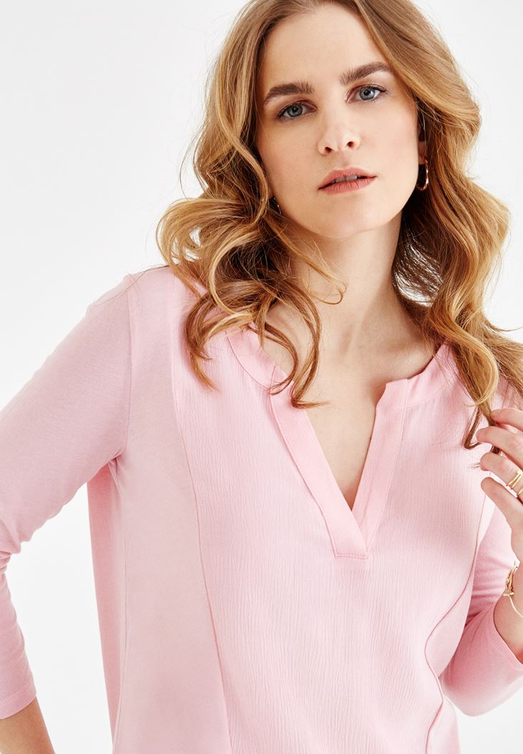 Pink V Neck Blouse with Stitch Details