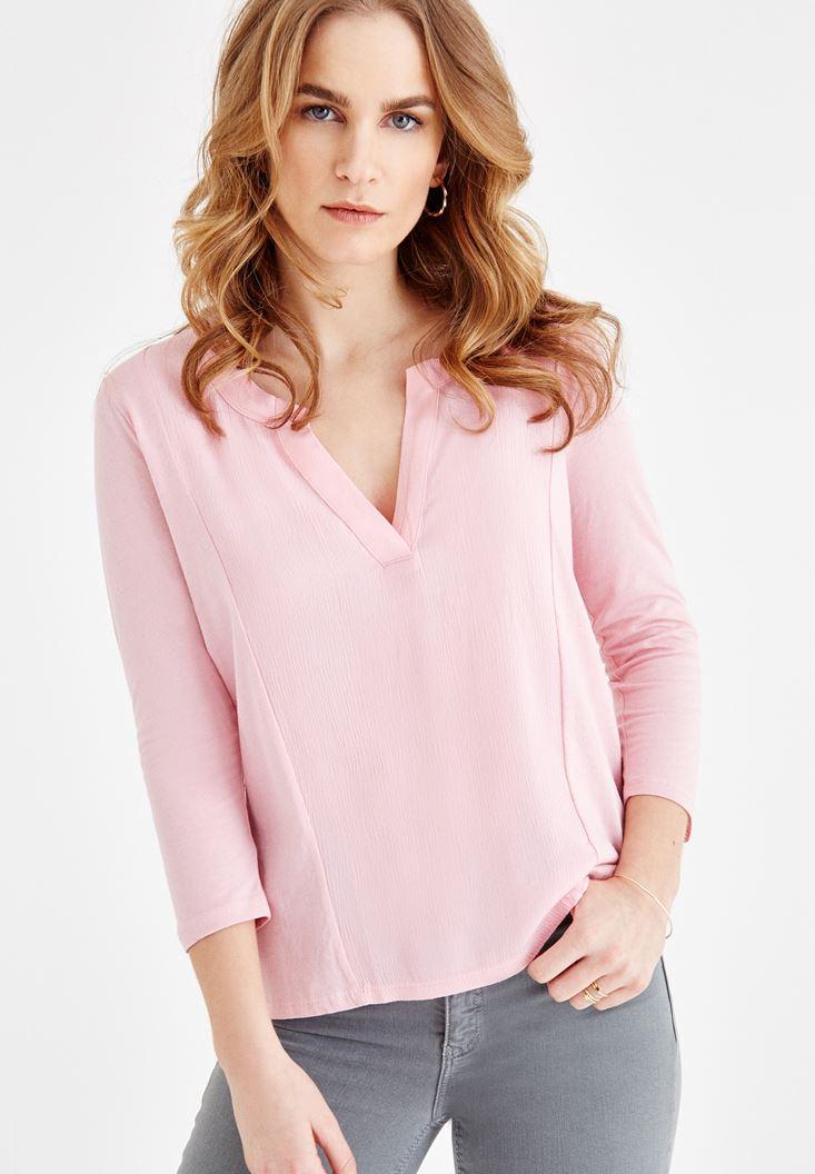 Bayan Pembe V Yaka Dikiş Detaylı Bluz