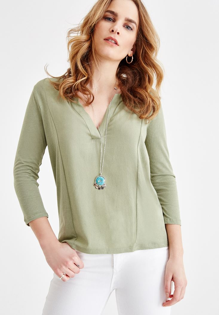 Green V Neck Blouse with Stitch Details
