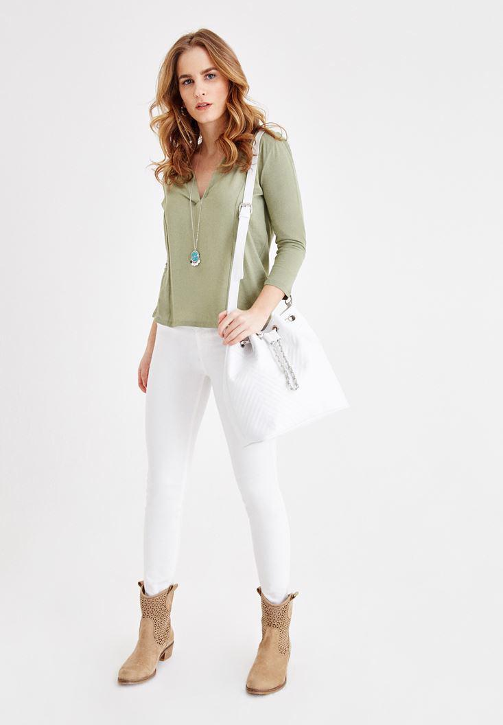 Women Green V Neck Blouse with Stitch Details