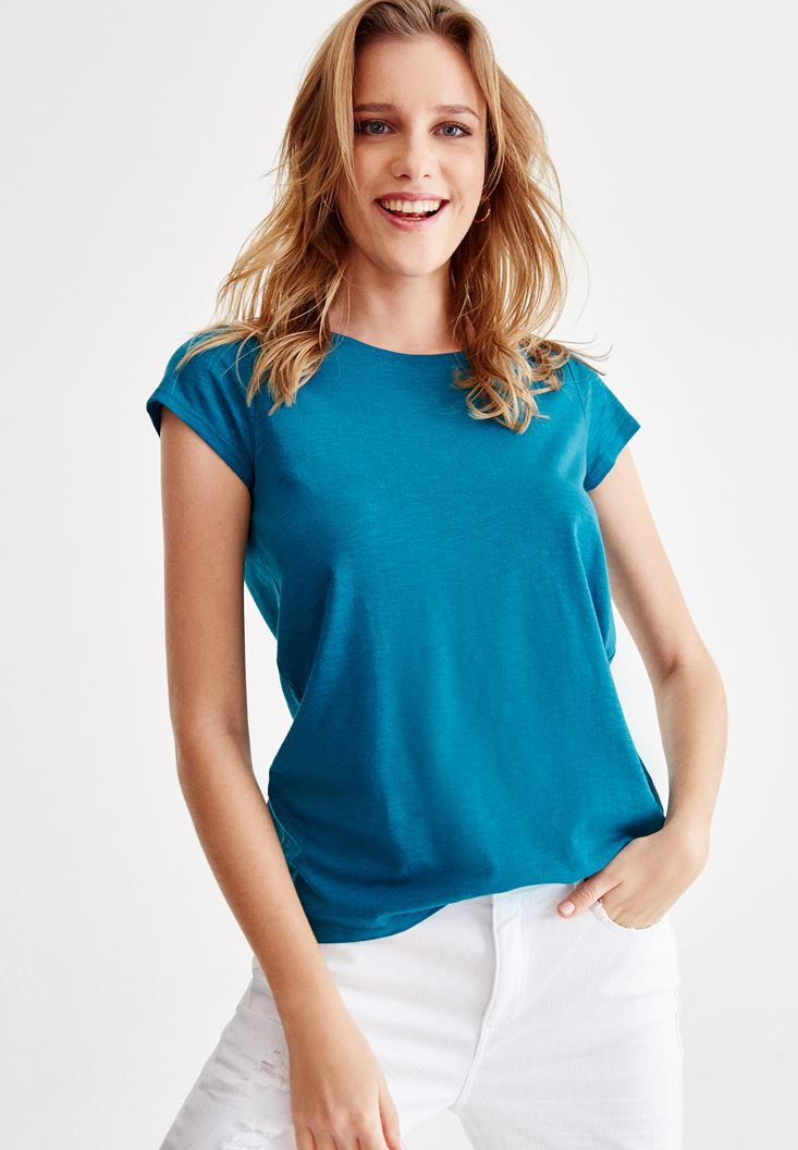 Mavi Sıfır Yaka Basic Tişört