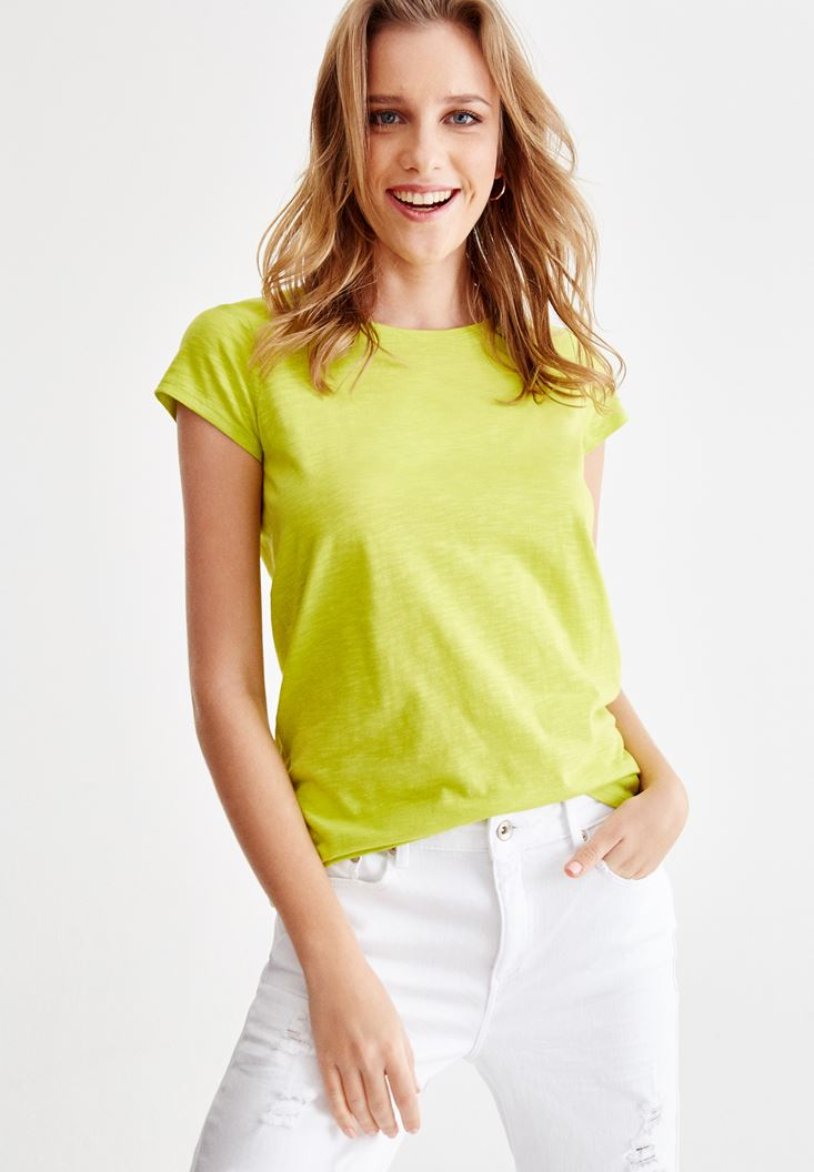 Green T-Shirt with U Neck Details