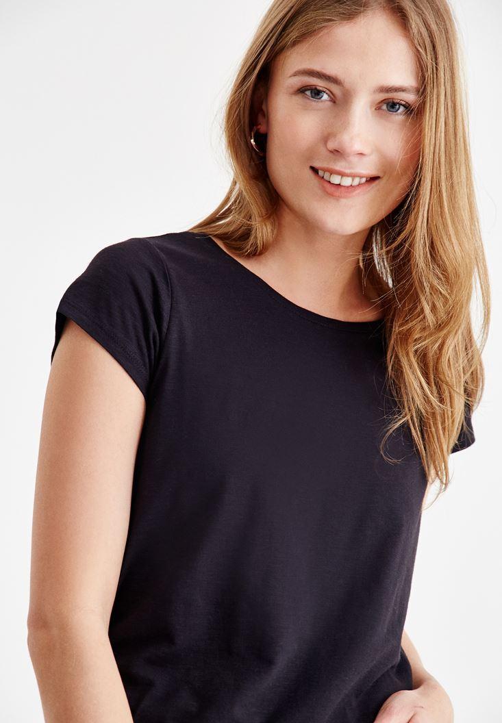 Siyah Sıfır Yaka Basic Tişört