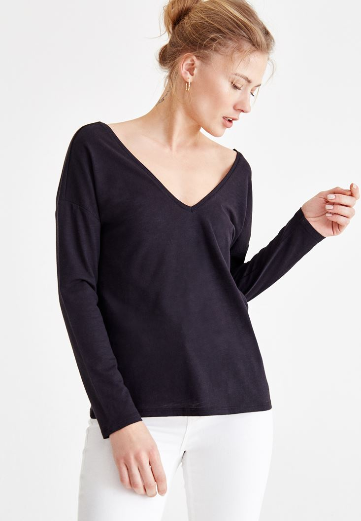 Black V Neck T-Shirt with Back Details