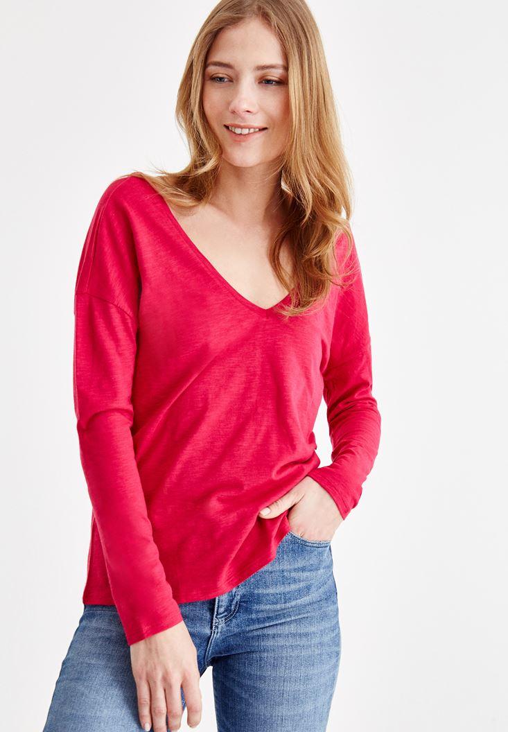 Pink V Neck T-Shirt with Back Details