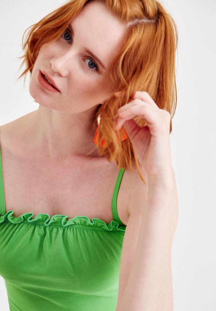 Women Green Tank with Ruffle Details