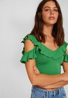Bayan Yeşil Kolları Fırfırlı Crop Bluz