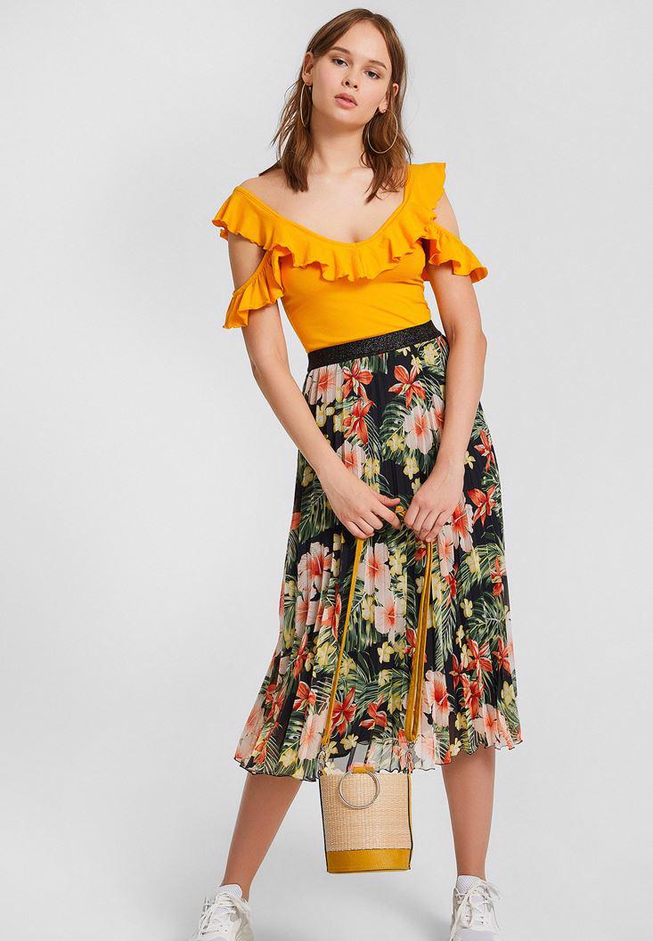Bayan Sarı Kolları Fırfırlı Crop Bluz