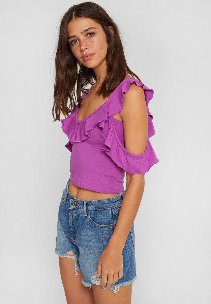 Purple Blouse with Ruffle and Neck