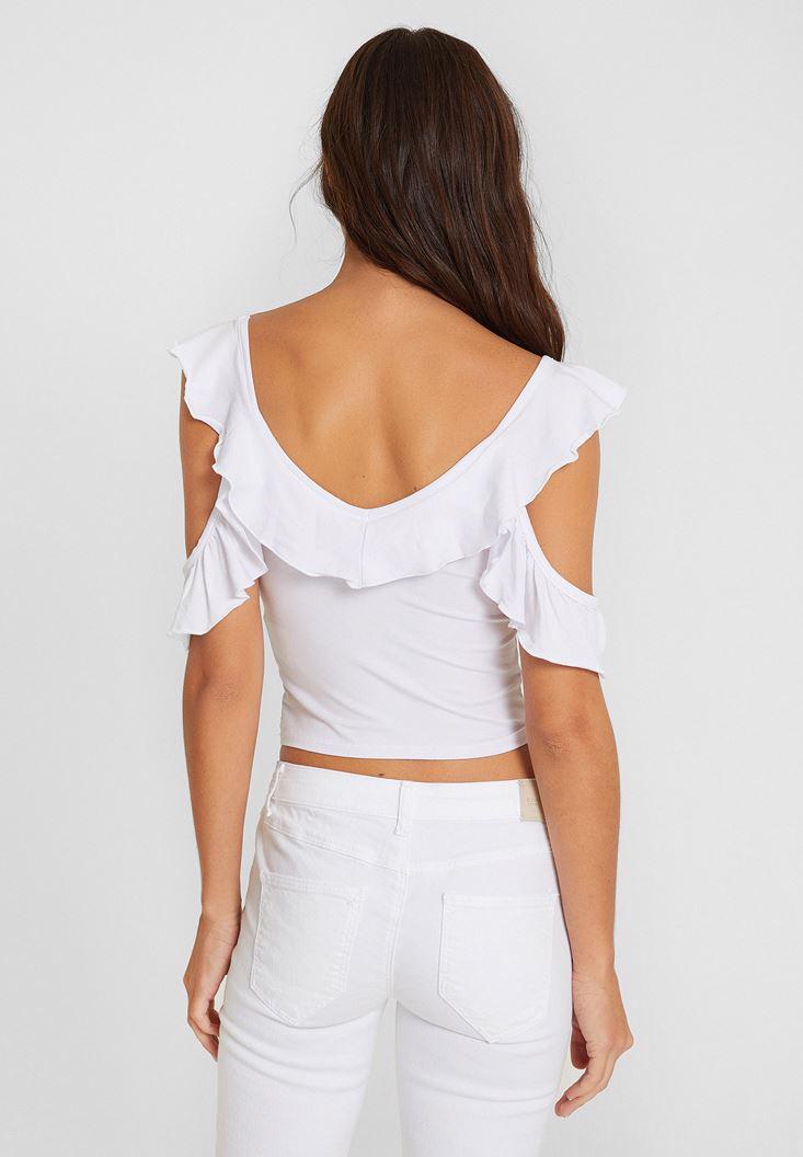 Women White Blouse with Ruffle and Neck