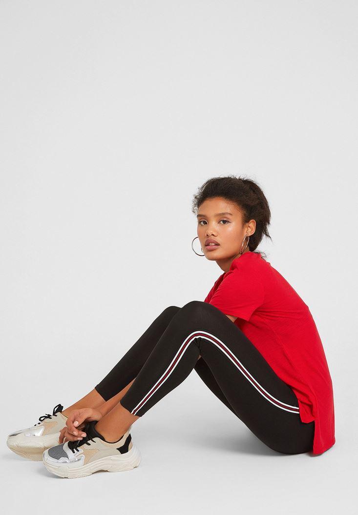 Black High Rise Legging with Side Details