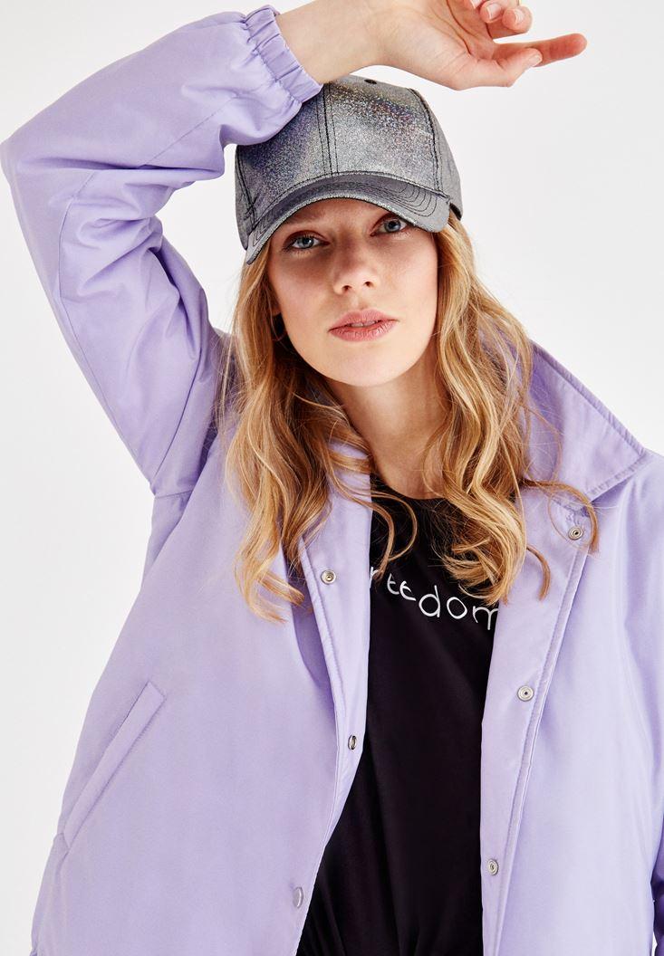 Women Purple Coat with Arm Details