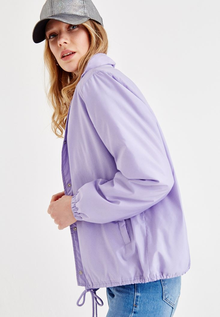 Bayan Mor Kol Detaylı Puf Ceket