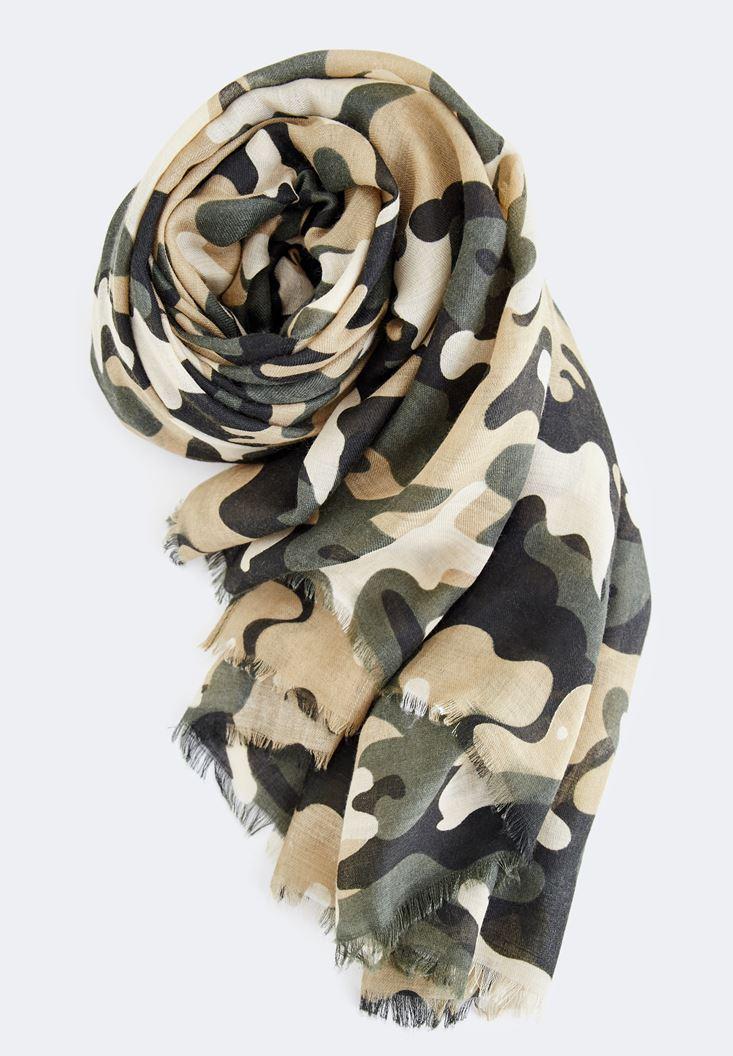 Bayan Çok Renkli Kamuflaj Desenli Uzun Şal