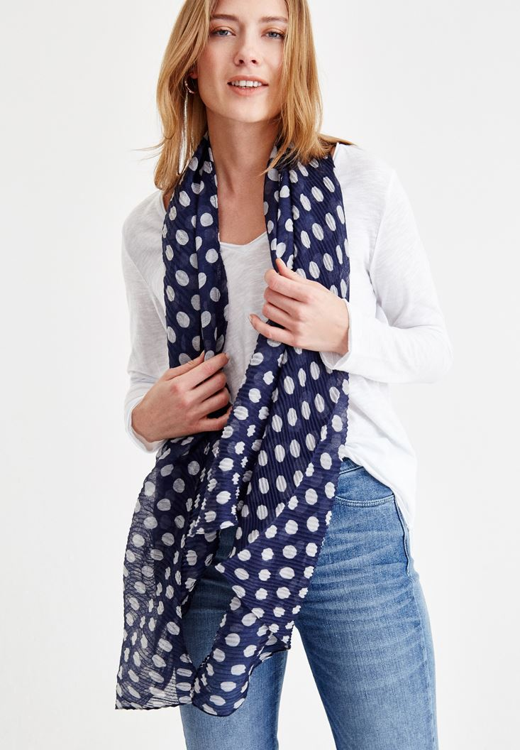 Navy Scarf with Spot Details